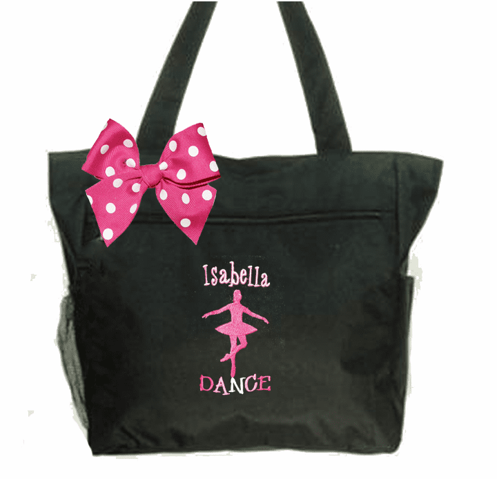 Personalized Embroidered Black Tote with Gymnastics Design