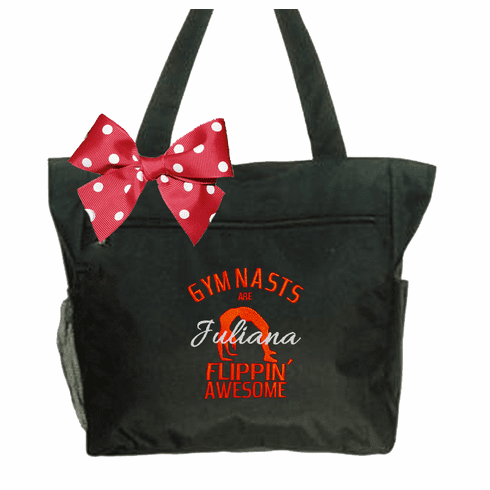 Personalized Embroidered Black Tote with Gymnastics Flippin' Design