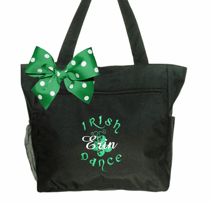 Personalized Embroidered Black Tote with Irish Step Dance Design and Bow