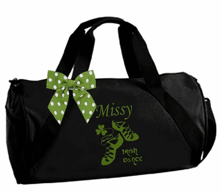 Personalized Embroidered Black with Green Embroidery Duffel Irish Step Dance Design