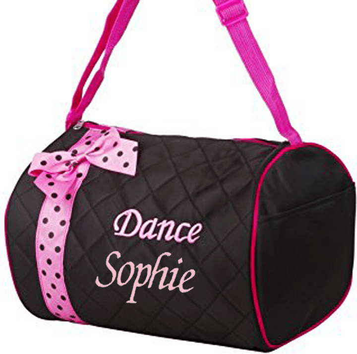 Personalized Embroidered Black with Pink Ribbon Trim Dance Duffel