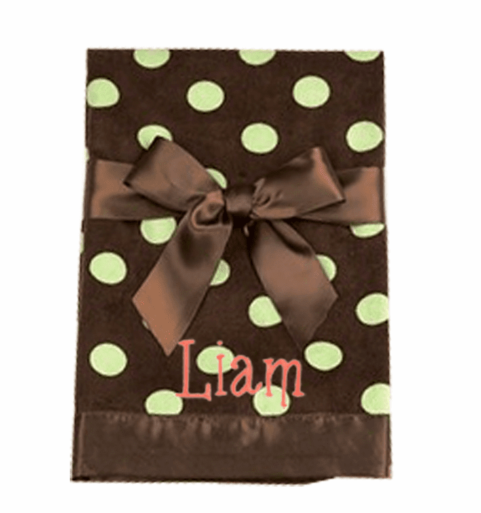 Personalized Embroidered Brown with Lime Dots Baby Infant Blanket