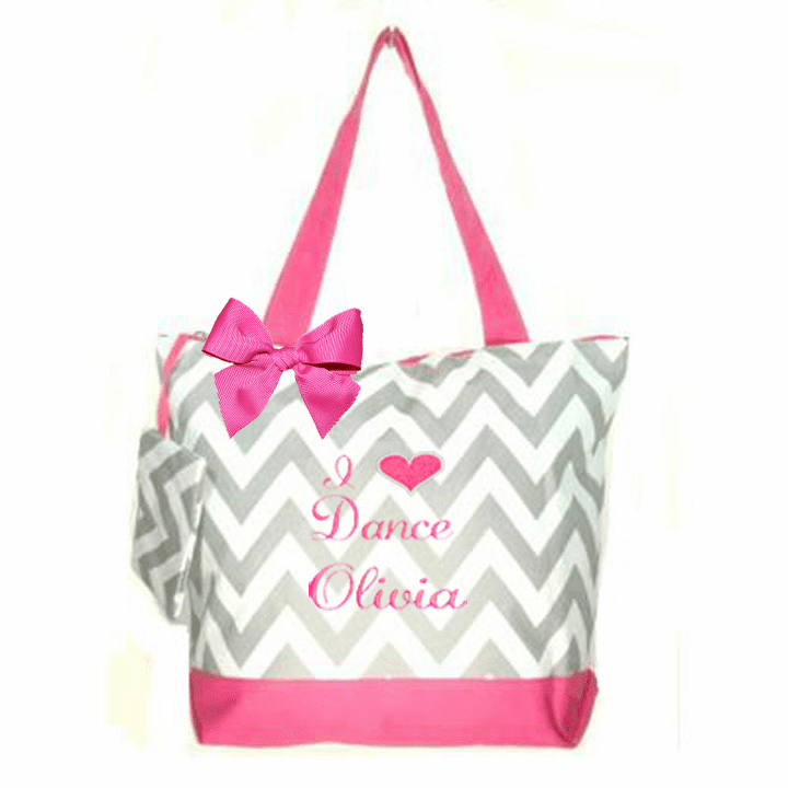 Personalized Embroidered Chevron I Heart Dance w/Embroidered Design & Bow 5 Color Choices