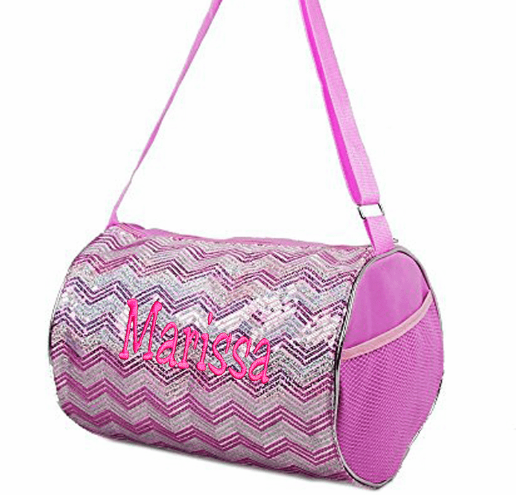 Personalized Embroidered Chevron with Sequins Dance Gymnastics Duffel Everyday