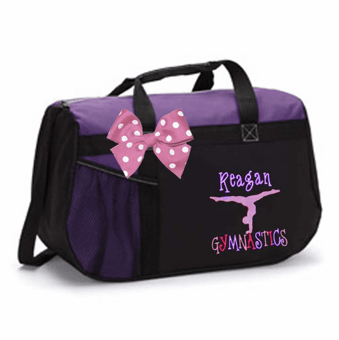 Personalized Embroidered Color Block Black & Purple Duffel Bag w/Bow Gymnastics