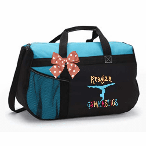 Personalized Embroidered Color Block Black & Turquoise Duffel Bag w/Bow Gymnastics