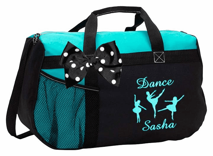 Personalized Embroidered Color Block Dance Duffel Bag 3 Dancers Design w/Bow 6 Color Choices