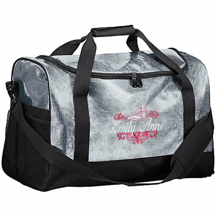 Personalized Embroidered Color Block Glitter Ballet Dance Duffel Bag 4 Color Choices