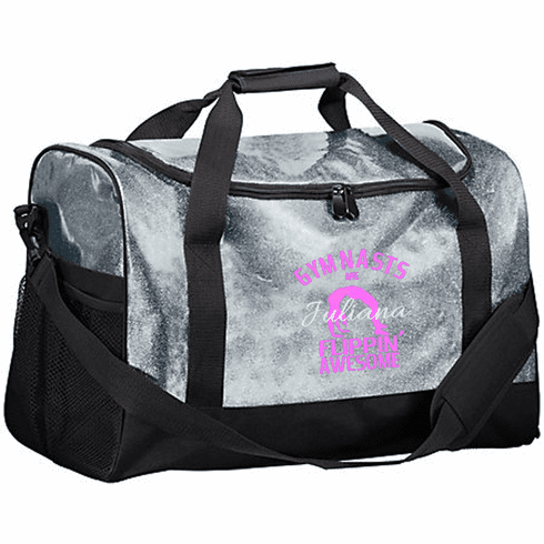 Personalized Embroidered Color Block Glitter Gymnastics Duffel Bag 4 Color Choices