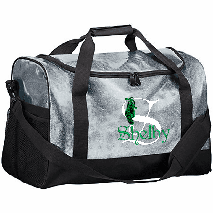 Personalized Embroidered Color Block Glitter Irish Step Dance Duffel Bag 4 Color Choices