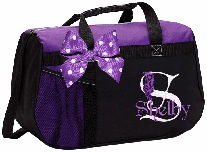 Personalized Embroidered Color Block Irish Step Dance Duffel Bag w/Bow 6 Color Choices