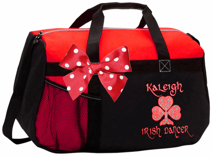 Personalized Embroidered Color Block Irish Step Dance Duffel Bag w/Bow 6 Color Choices Glitter Celtic Shamrock