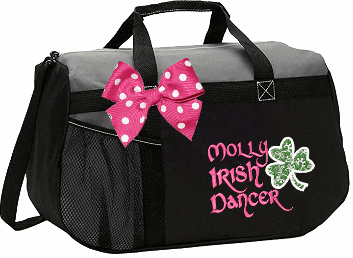 Personalized Embroidered Color Block Irish Step Dance Duffel Bag w/Bow 6 Color Choices Glitter Shamrock