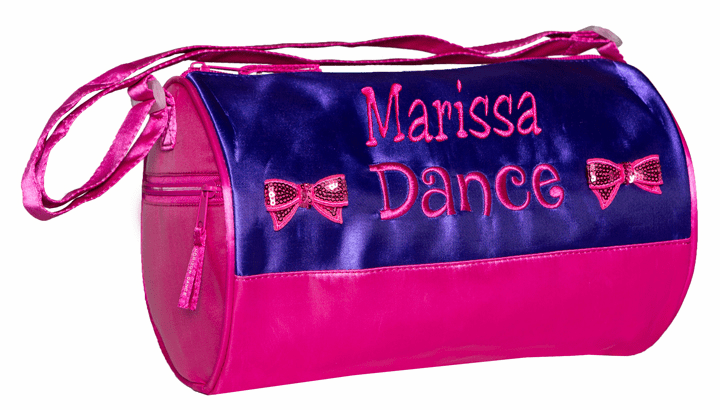 PERSONALIZED Embroidered Deep Purple & Hot Pink Dance Duffel Bag Sequin Bows