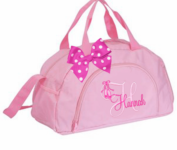 Personalized Embroidered Gear Tote Pink Dance Duffel