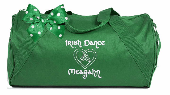 Personalized Embroidered Green with White Embroidery Duffel Irish Step Dance Design