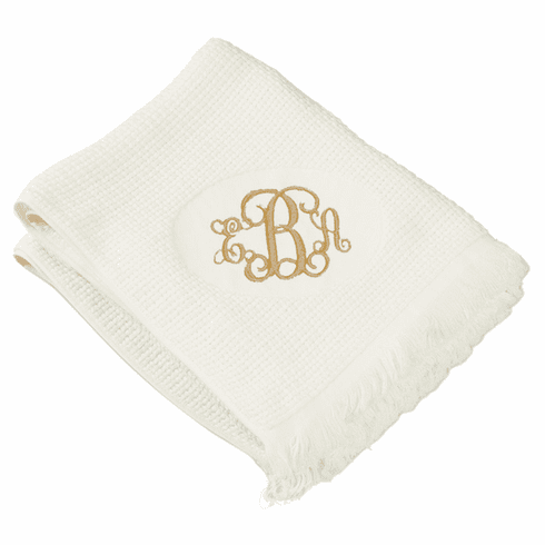 Personalized Embroidered Large Beige Basket Weave Throw