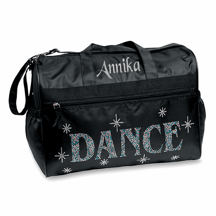 """Personalized Embroidered Large Black """"Bling Dance"""" Team Gear Duffel Bag"""