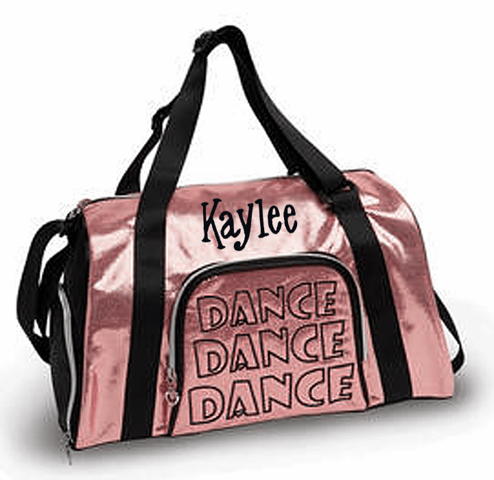 Personalized Embroidered Large Pink Shimmer w/Black Trim Dance Duffel Bag