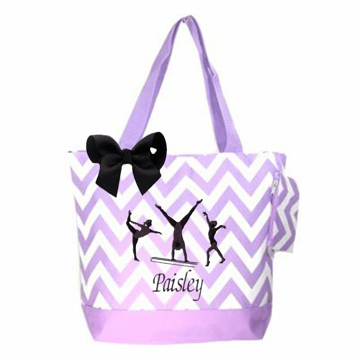 Personalized Gymnastics Embroidered Lavender Chevron w/ Black Embroidered Design & Bow