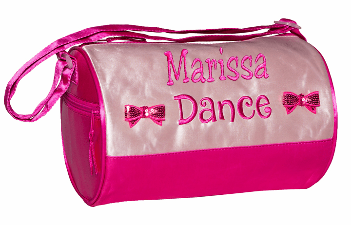 PERSONALIZED Embroidered Light Pink & Hot Pink Dance Duffel Bag Sequin Bows