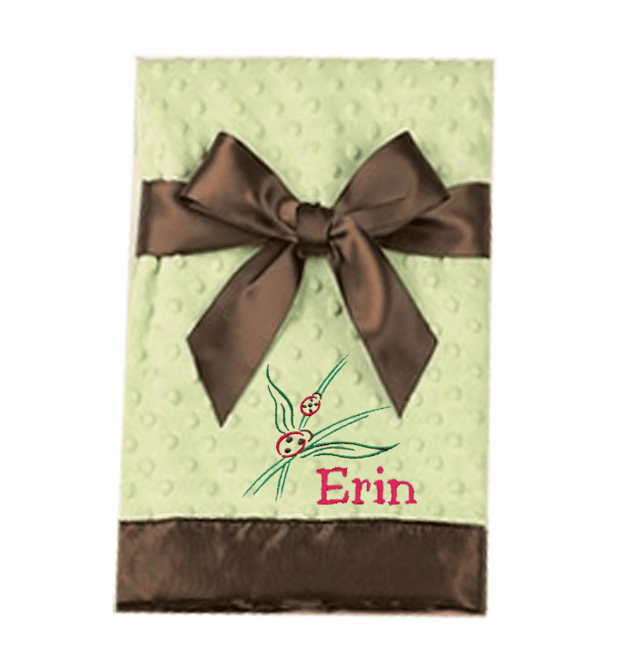 Personalized Embroidered Lime with Brown Satin Trim Infant Baby Blanket