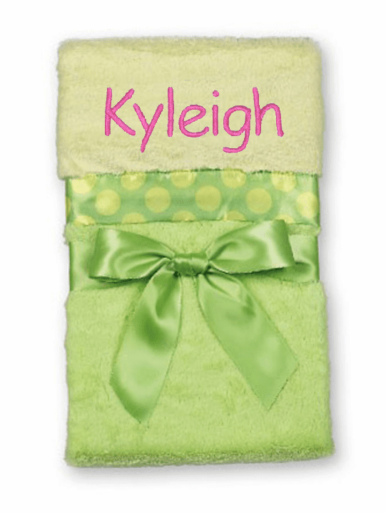 Personalized Embroidered Pastel Yellow & Green Large Baby Blanket Bearington Baby