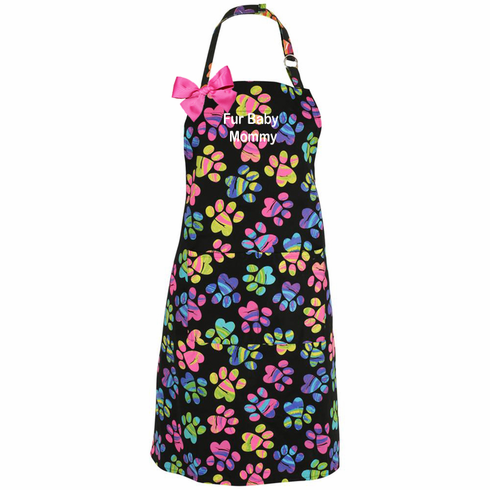Personalized Embroidered Pet Lovers Paw Print Ladies' Apron