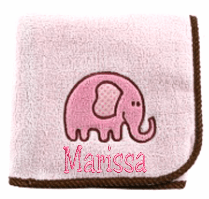 Personalized Embroidered Pink Elephant Cozy Plush Baby Blanket