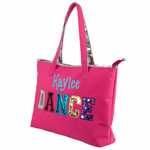 Personalized Embroidered Pink Multicolored Holographic Dance Tote