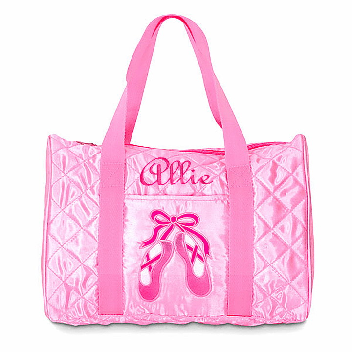 Personalized Embroidered Pink Satin Quilted Dance Duffel Bag