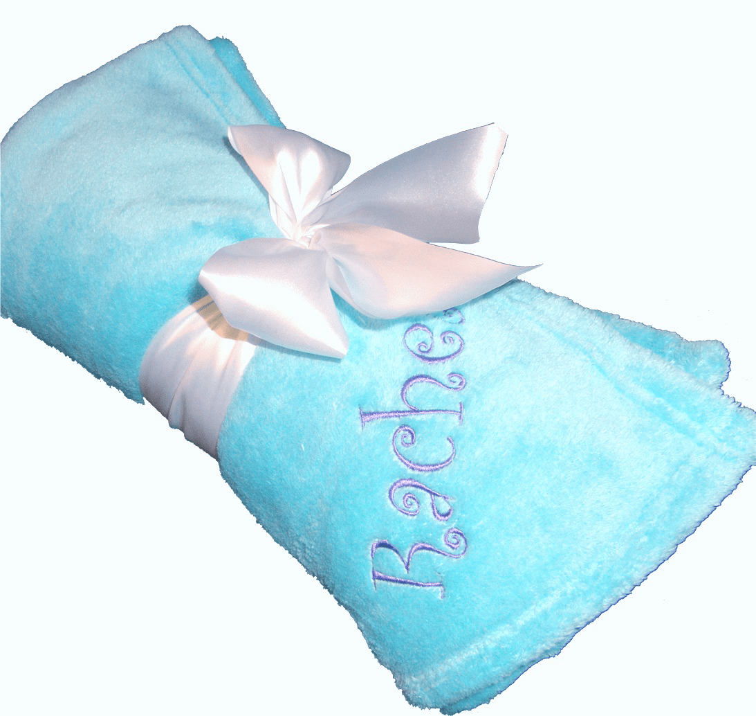 "Personalized Embroidered Plush Fleece Blanket - Lots of Colors 50"" x 60"""
