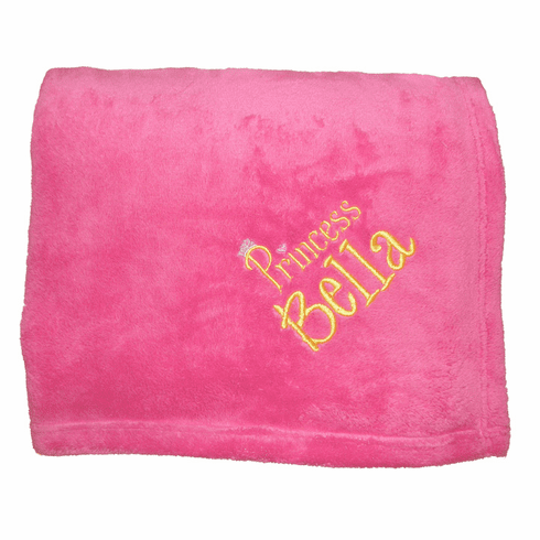 "Personalized Embroidered Plush Fleece Blanket - Hot Pink 50"" x 60"""