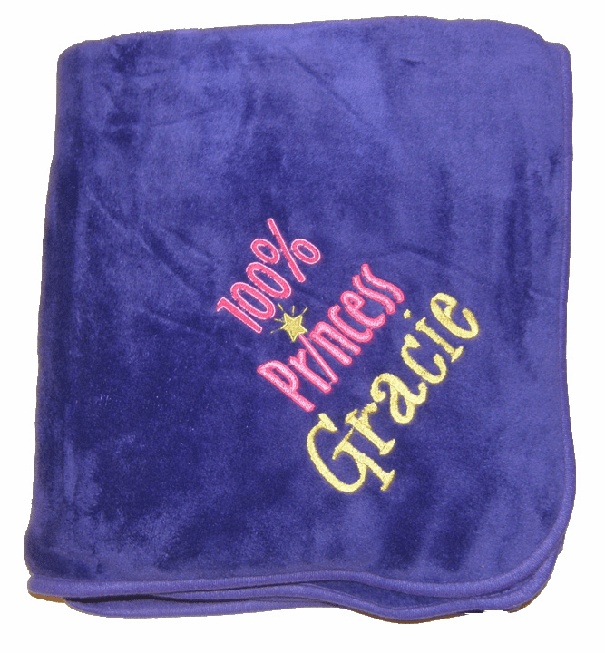 "Personalized Embroidered Plush Fleece Blanket - Purple  50"" x 60"""