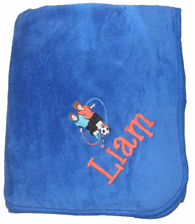 "Personalized Embroidered Plush Fleece Blanket - Royal Blue 50"" x 60"""
