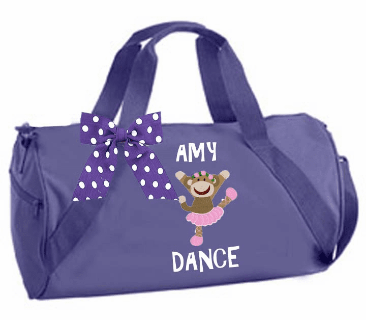 Personalized Embroidered Purple Duffel Sock Monkey Dancer