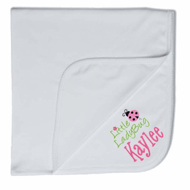 Personalized Embroidered Receiving Blanket 100% Cotton 6 Colors