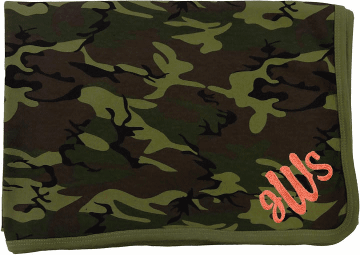 Personalized Embroidered Receiving Blanket  Pink or Green Camouflage