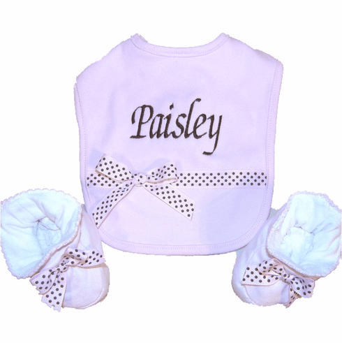 Personalized Embroidered Ribbon Trimmed Cotton Bib & Booties Set