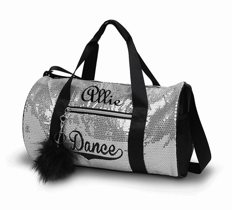 Personalized Embroidered Silver Sequin Dance Duffel