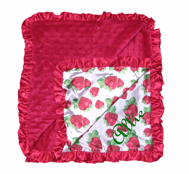 Personalized Embroidered MInky Dot Ruffled Edge Blanket Strawberries or Flowers