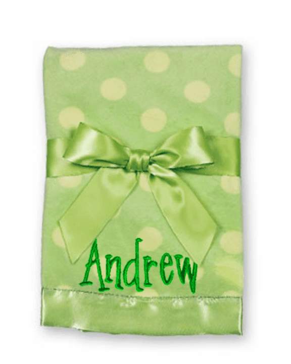 Personalized Embroidered Bearington Baby Lime Dots Plush Blanket
