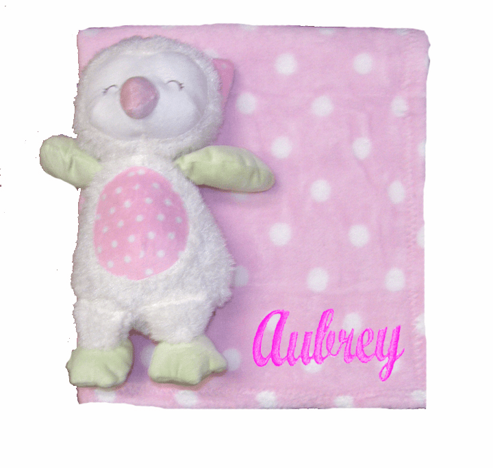PERSONALIZED 2 Piece Baby Gift Crib Blanket and Plush Owl Toy Pink Polka-dot Blanket