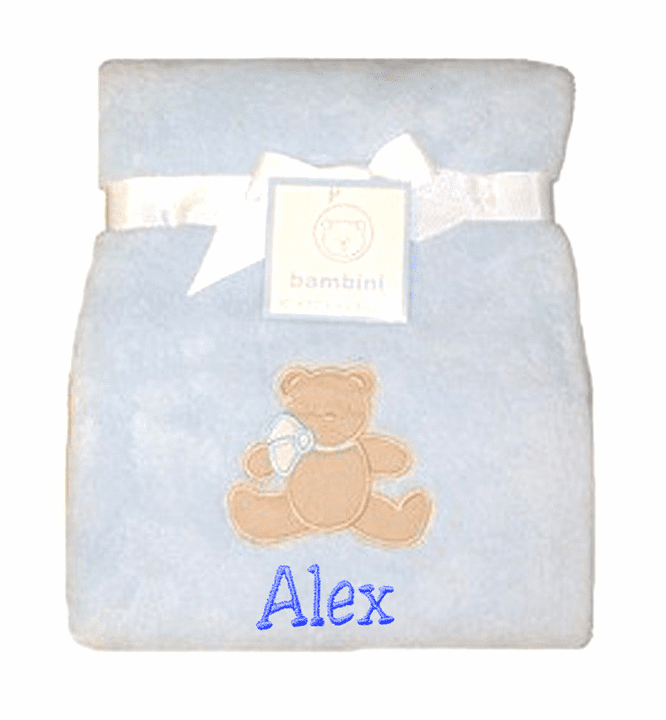 Personalized Embroidered Value Priced Blue Or Pink Plush Fleece Blanket