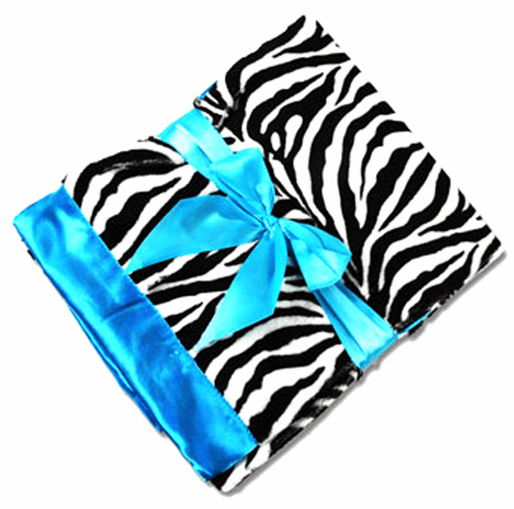 Personalized Embroidered Zebra Minky Blanket - Satin Backing