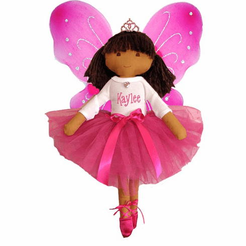 Personalized Fairy Princess Ballet Soft Dolly Pink Tutu, Wings & Toe Shoes