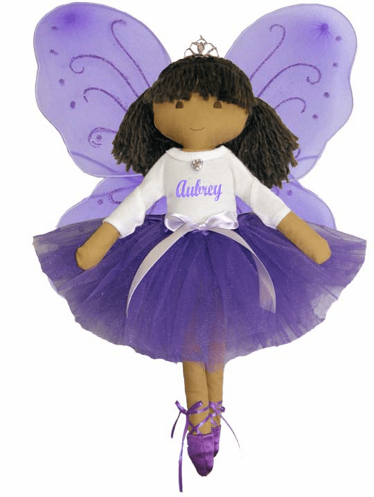 Personalized Fairy Princess Ballet Soft Dolly Purple Tutu, Wings & Toe Shoes