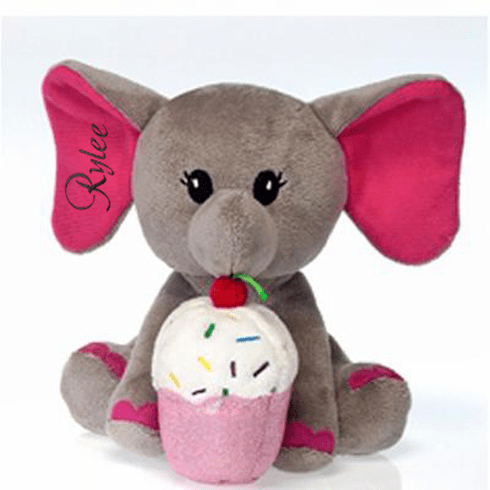 PERSONALIZED Fiestalicious Adorable Grey Elephant with Cupcake