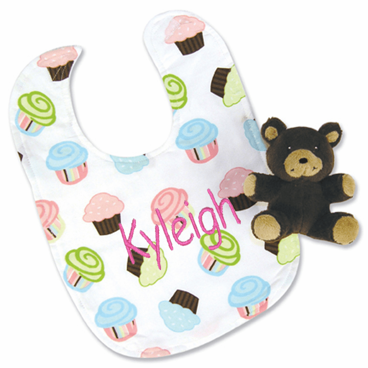 Clearanced Fun Colorful 2 Piece Soft Cupcake Bib & Bear Gift Set