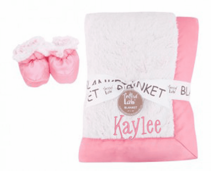Personalized Gift Set Peek-a-Boo Lime, Pink or Blue Faux Fur Framed Blanket with Slippers